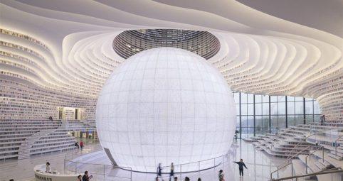 La nueva biblioteca China que tiene más de un millón de libros en cascada